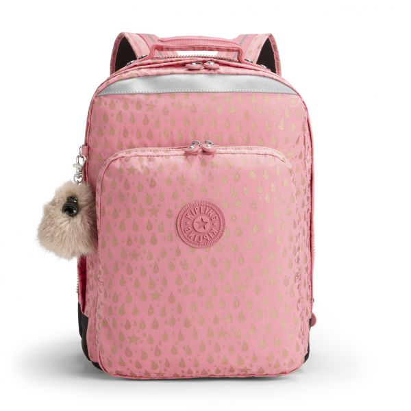 COLLEGE UP Pink Gold Drop BACKPACKS by Kipling Front