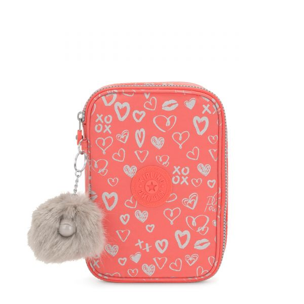 100 PENS Hearty Pink Met POUCHES/CASES by Kipling Front