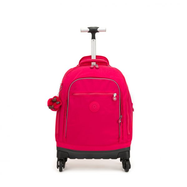 ECHO True Pink WHEELED BACKPACKS by Kipling Front