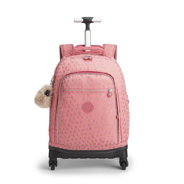 ECHO Pink Gold Drop WHEELED BACKPACKS by Kipling Front