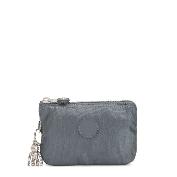 CREATIVITY S Steel Grey Metallic POUCHES/CASES by Kipling Front
