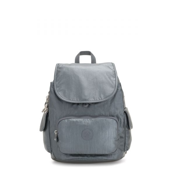 CITY PACK S Steel Grey Metallic BACKPACKS by Kipling Front