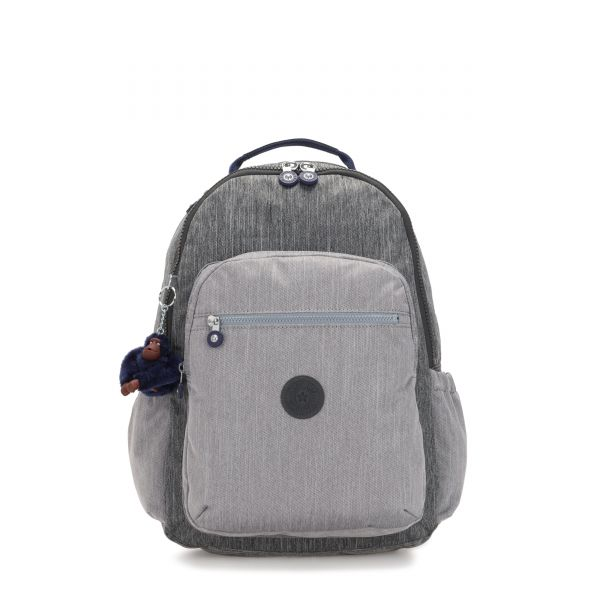 SEOUL GO Ash Denim Bl BACKPACKS by Kipling Front
