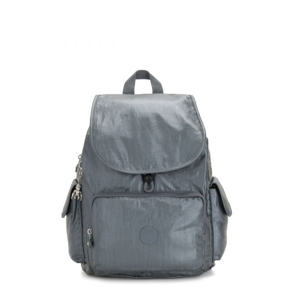 CITY PACK Steel Grey Metallic BACKPACKS by Kipling Front