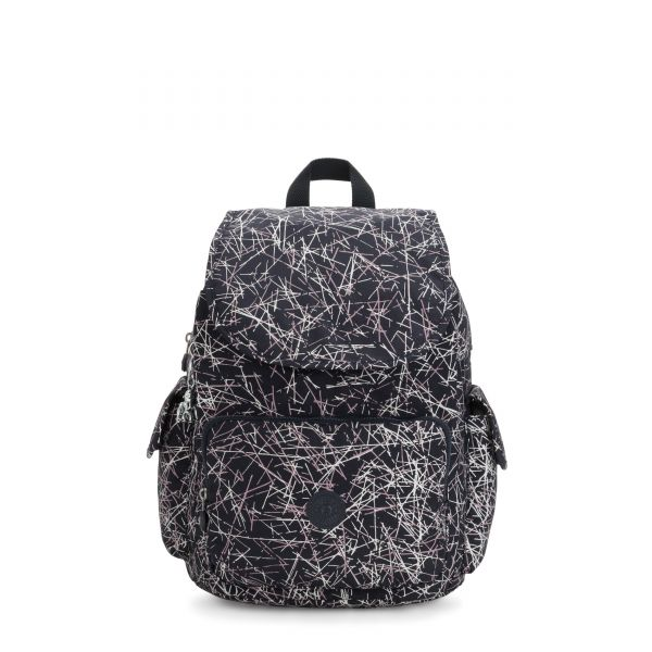 CITY PACK Navy Stick Print BACKPACKS by Kipling Front