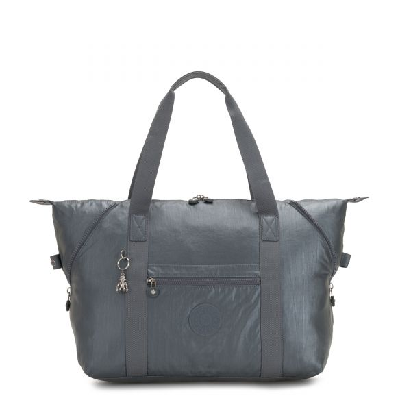 ART M Steel Grey Metallic TOTE by Kipling Front