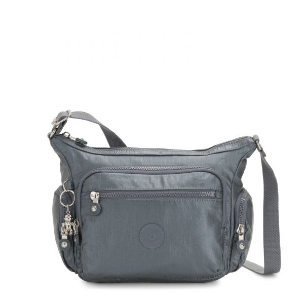 GABBIE S Steel Grey Metallic CROSSBODY by Kipling Front