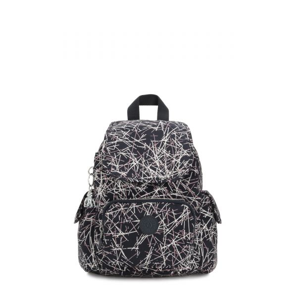 CITY PACK MINI Navy Stick Print BACKPACKS by Kipling Front
