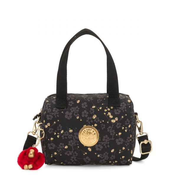 KEEYA S Grey Gold Floral SHOULDERBAGS by Kipling Front