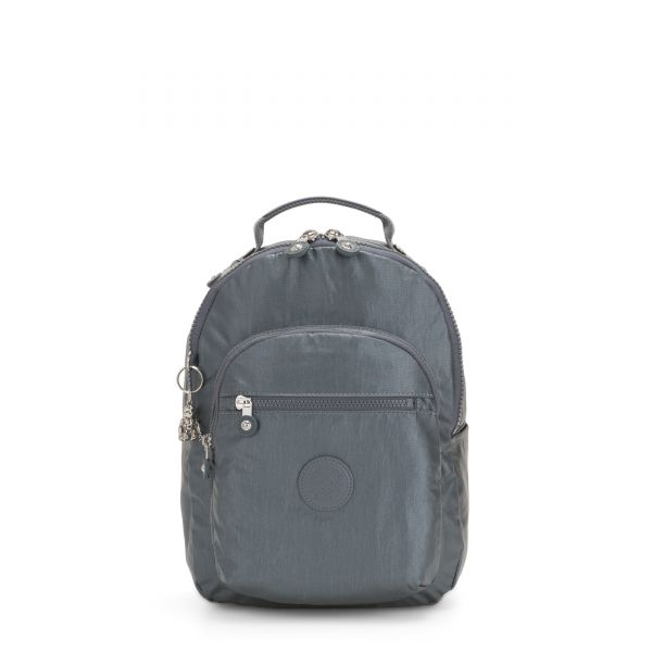 SEOUL S Steel Grey Metallic BACKPACKS by Kipling Front