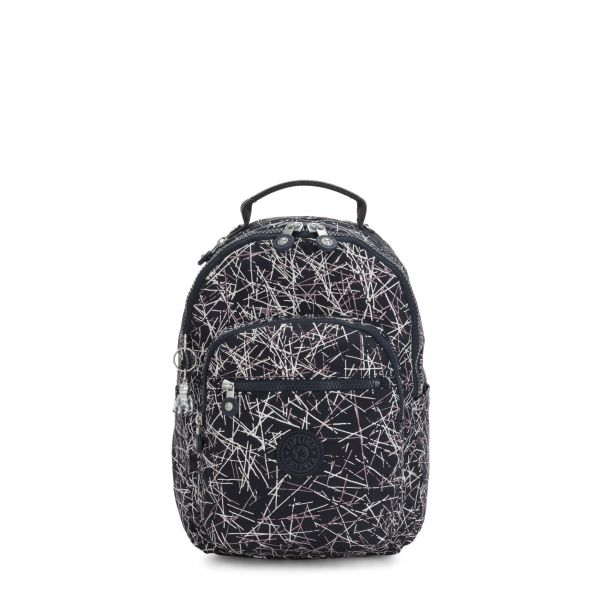 SEOUL S Navy Stick Print BACKPACKS by Kipling Front