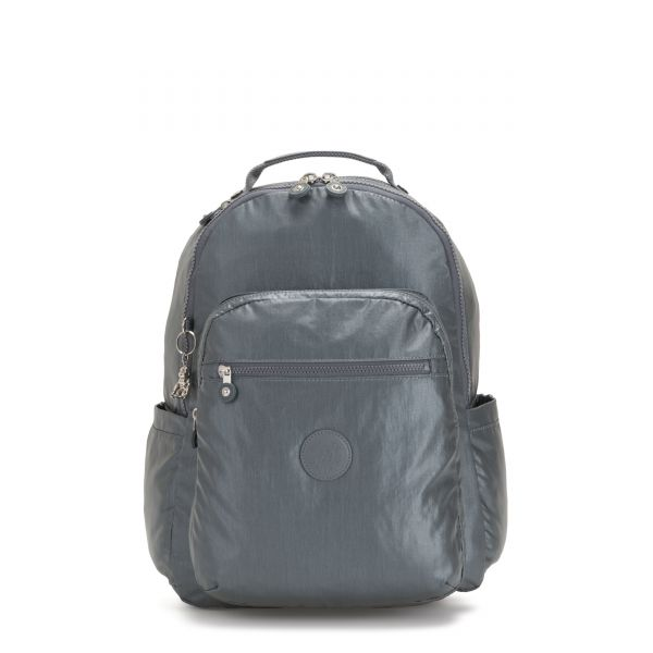 SEOUL Steel Grey Metallic BACKPACKS by Kipling Front