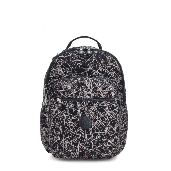 SEOUL Navy Stick Print BACKPACKS by Kipling Front