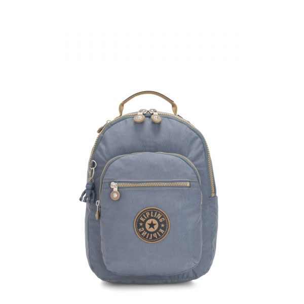 SEOUL S Stone Blue Block BACKPACKS by Kipling Front