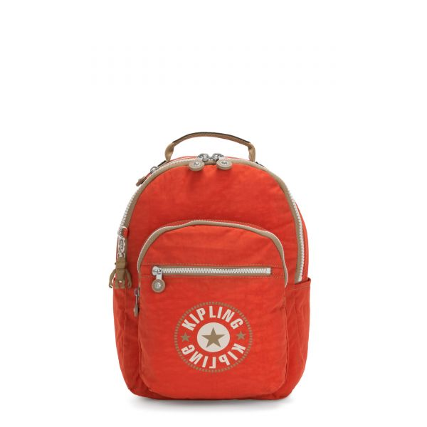 SEOUL S Funky Orange Block BACKPACKS by Kipling Front