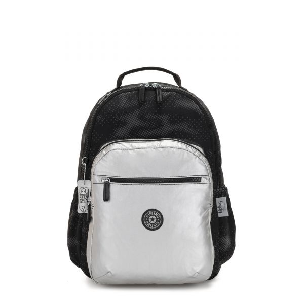 SEOUL 2 IN 1 Camo Fl Silver BACKPACKS by Kipling Front