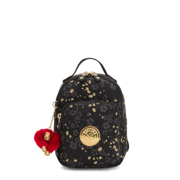 ALBER Grey Gold Floral BACKPACKS by Kipling Front