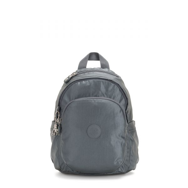 DELIA MINI Steel Grey Metallic BACKPACKS by Kipling Front