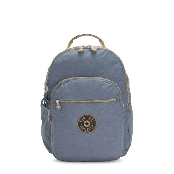 SEOUL Stone Blue Block BACKPACKS by Kipling Front