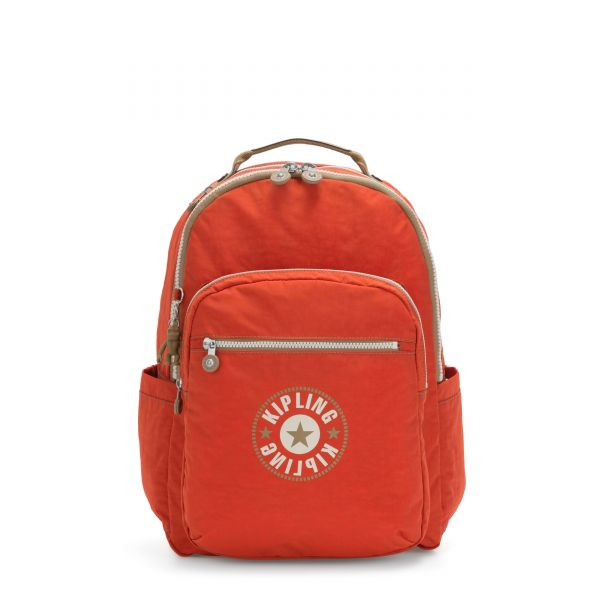 SEOUL Funky Orange Block BACKPACKS by Kipling Front