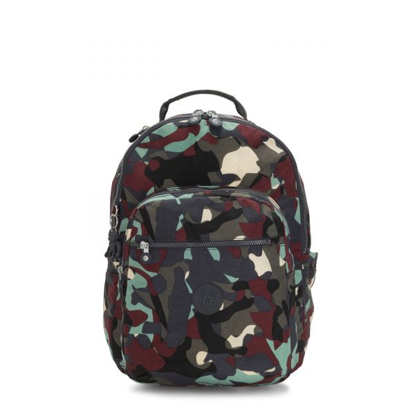 SEOUL Camo Large BACKPACKS by Kipling Front