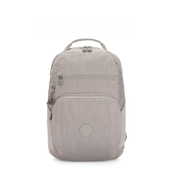 TROY Grey Beige Peppery BACKPACKS by Kipling Front