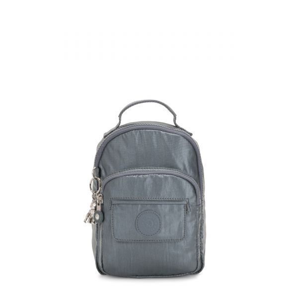 ALBER Steel Grey Metallic BACKPACKS by Kipling Front