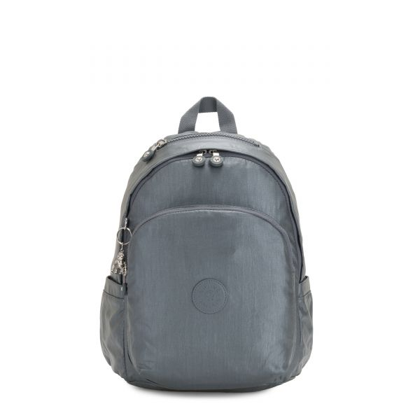 DELIA Steel Grey Metallic BACKPACKS by Kipling Front