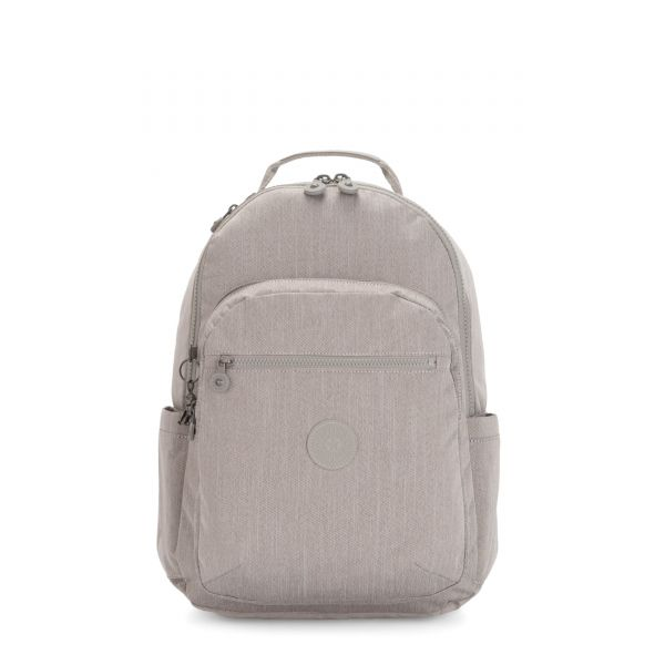 SEOUL Grey Beige Peppery BACKPACKS by Kipling Front
