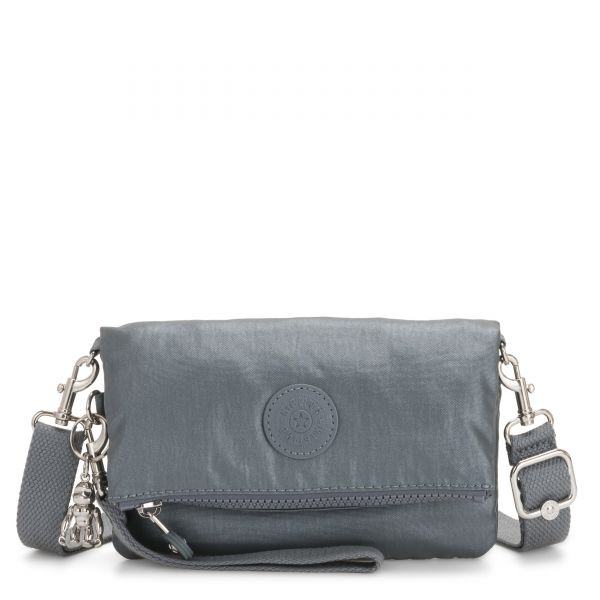 LYNNE Steel Grey Metallic CROSSBODY by Kipling Front