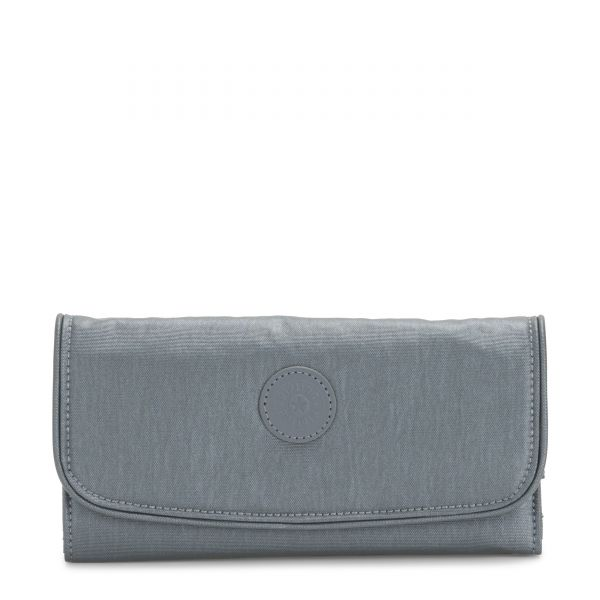 MONEY LAND Steel Grey Metallic WALLETS by Kipling Front