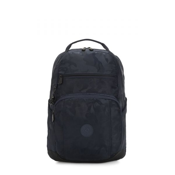 TROY Satin Camo Blue BACKPACKS by Kipling Front