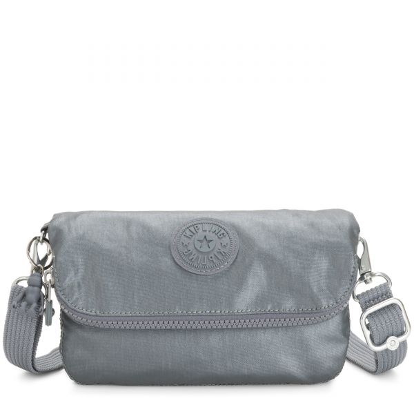 IBRI Steel Grey Metallic Femme Strap POUCHES/CASES by Kipling Inside