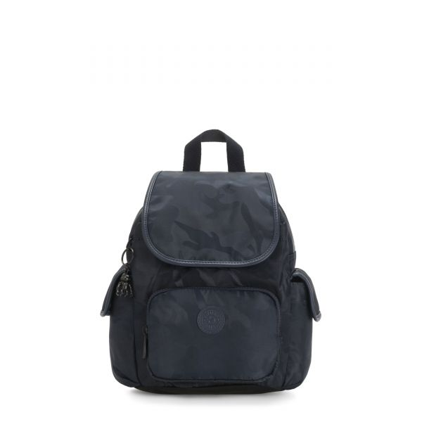 CITY PACK MINI Satin Camo Blue BACKPACKS by Kipling Front